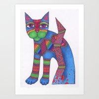 Blue Zen Cat Art Print