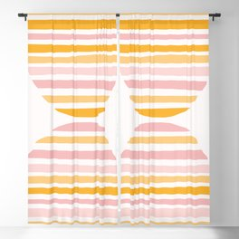 Abstract Shapes 159 in Mustard Yellow and Pale Pink (Rainbow Abstraction) Blackout Curtain