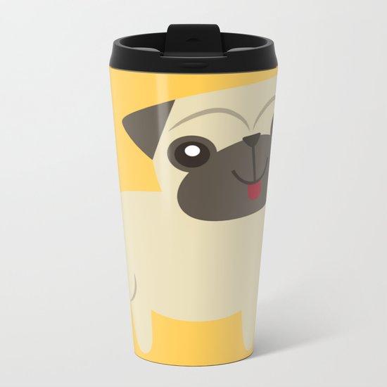 Happy Pug on Mustard Metal Travel Mug