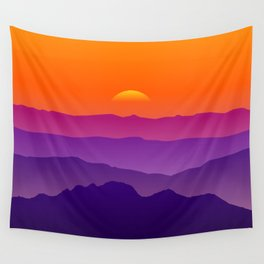 Sunset over the mountains Wall Tapestry