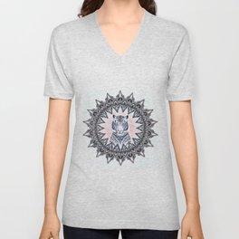 White Tiger Sapphire and Rose Mandala Unisex V-Neck