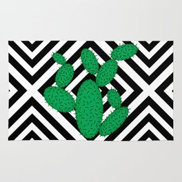Cactus - Abstract geometric pattern - black and white. Rug