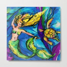 Mermaid and Sea Turtle by Kathy Morton Stanion Metal Print