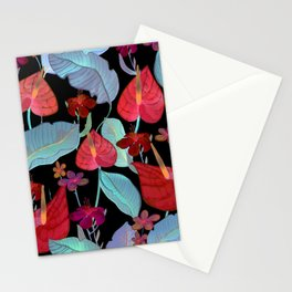 Red Flowers at night Stationery Cards
