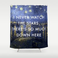 lorde Shower Curtains featuring I Never Watch the Starry Night by Lorde Art History