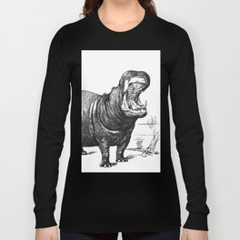 Hippopotamus black and white retro drawing Long Sleeve T-shirt
