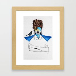 Blue Girl & Black Bird Framed Art Print
