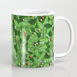 Leaves and red berries pattern Coffee Mug