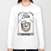 the legend of zelda Long Sleeve T-shirts featuring Zelda legend - Kokiri shield by Art & Be