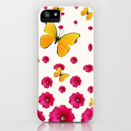 PINK HOLLYHOCKS & YELLOW BUTTERFLY LOVERS ART iPhone Case