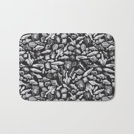 Aquatic I: White on Black Bath Mat