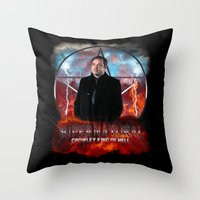 crowley Throw Pillows featuring Supernatural Crowley King of Hell S6 by Jamie Fontaine