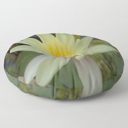 Pale Yellow Lotus Blossom Floor Pillow