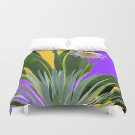 PURPLE DESERT CACTI & FLOWERS Duvet Cover
