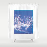 concert Shower Curtains featuring CONCERT by TOO MANY GRAPHIX