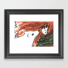 Windy, isn't it, bear? Framed Art Print