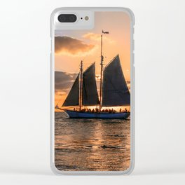 Sunset Sail and Plane Clear iPhone Case