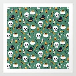 Happy halloween skulls, pots, brooms and witch hats pattern Art Print