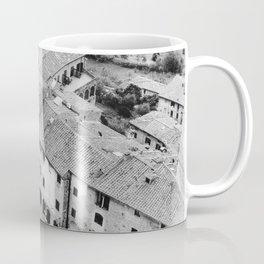 Italian streets | The square of San Gimignano, Italy | Analog photography black and white | Art Print Coffee Mug