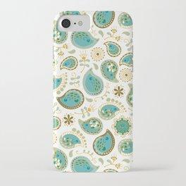 Hedgehog Paisley - Teal Bg White iPhone Case