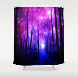 Magical Forest Path Fuchsia Purple Blue Shower Curtain