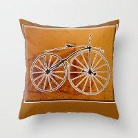 bike Throw Pillows featuring Bike by CrismanArt