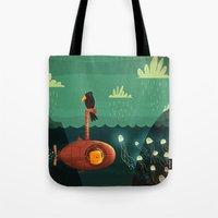 submarine Tote Bags featuring Submarine by Ilias Sounas