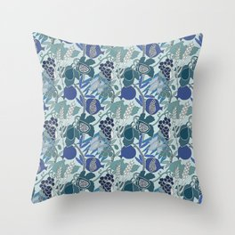 Seven Species Botanical Fruit and Grain in Blue Tones Throw Pillow
