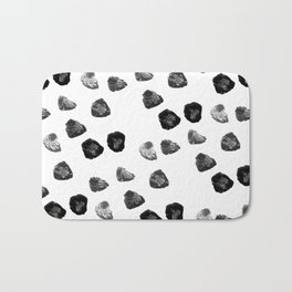 Modern black white watercolor brushstrokes pattern Bath Mat
