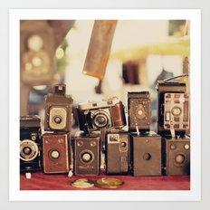 Old Cameras (Vintage and Retro Film Cameras Collection) Art Print