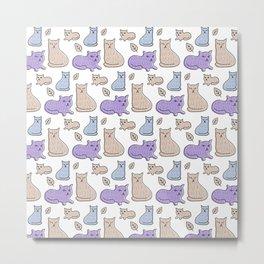 Lavender Beige Cats Leaves Pattern Metal Print