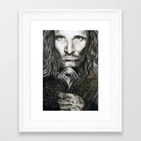 aragorn Framed Art Prints featuring Aragorn by Lucy Yin Art