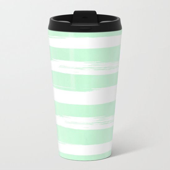Stripes Mint Green and White Metal Travel Mug