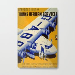 Trans African Services Vintage Travel Poster Metal Print