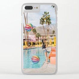 Palm Springs Pool Day IV Clear iPhone Case
