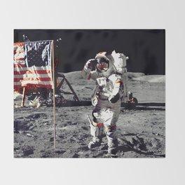 Salute on the Moon Throw Blanket