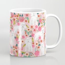 Toy Poodle pattern print by pet friendly pink florals dog with flower pattern cute toy poodles Coffee Mug