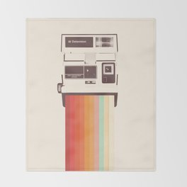 Instant Camera Rainbow Throw Blanket