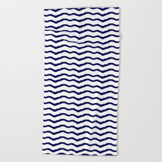 Maritime pattern- dark blue waves lines ond white  backround Beach Towel
