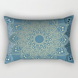 GOLDEN MANDALA ON BLUE Rectangular Pillow