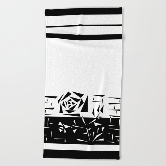 Abstract rose. black and white . 1 Beach Towel