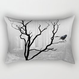 Black Crow in Foggy Forest A118 Rectangular Pillow