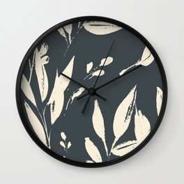 Midnight jungle: black and white modern ink botanicals Wall Clock