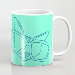 Funny Sphynx Cat in Oversized Sunglasses - Animal Minimal Line Drawing - Neon Green - Vibrant Illustration Coffee Mug