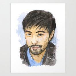 Watercolor Asian Male Portrait Art Print