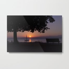 Sunset with Boat Metal Print