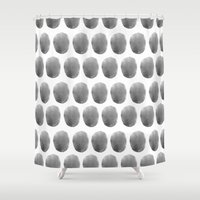 polkadot Shower Curtains featuring Watercolour polkadot black by Mouseblossom
