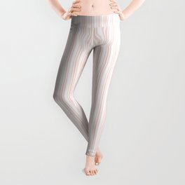 Classic Small Pink Rosebud Pastel Pink French Mattress Ticking Double Stripes Leggings