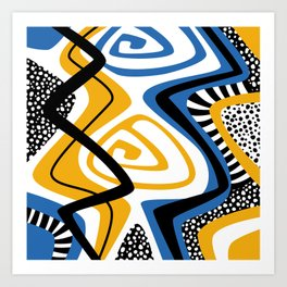 Blue & Yellow Craze Art Print