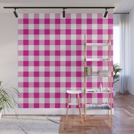 Jumbo Shocking Hot Pink Valentine Pink and White Buffalo Check Plaid Wall Mural